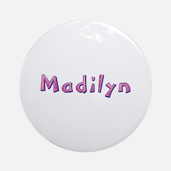 Madilyn Pink Giraffe Round Ornament