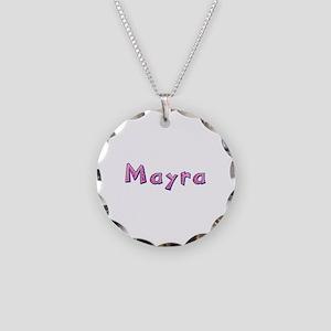 Mayra Pink Giraffe Necklace Circle Charm