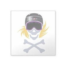 Lil' Snowboarder Skully Square Sticker 3