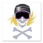 Lil' Snowboarder Skully Square Car Magnet 3