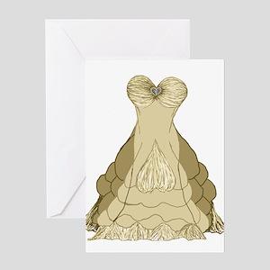 champagne ballgown wedding dress Greeting Cards