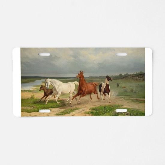 Wild Horses on the Run Aluminum License Plate