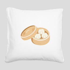 Asian Dumplings Square Canvas Pillow
