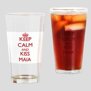 Keep Calm and Kiss Maia Drinking Glass