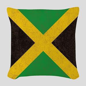 Vintage Jamaican Flag  Woven Throw Pillow