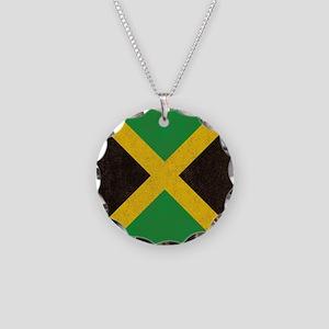 Vintage Jamaican Flag  Necklace Circle Charm