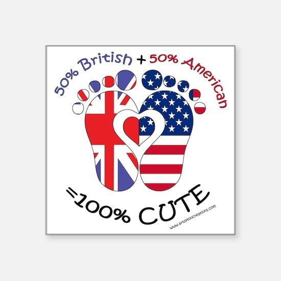 "British American Baby Square Sticker 3"" x 3"""