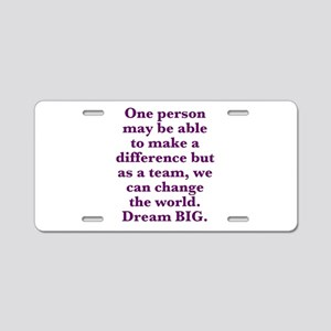 Team World Change Aluminum License Plate