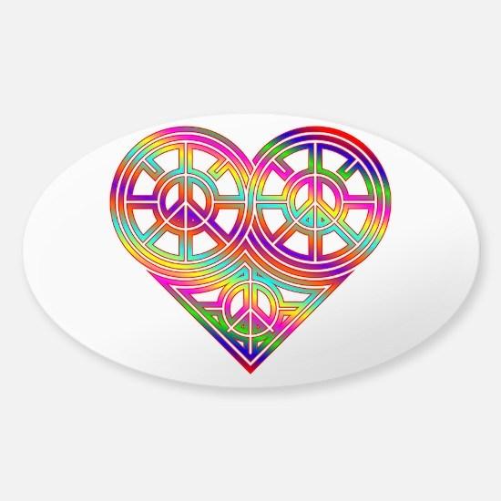 Infinity Peace Love Heart 05 Sticker (Oval)