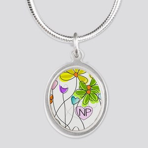 Nurse Practitioner Silver Oval Necklace