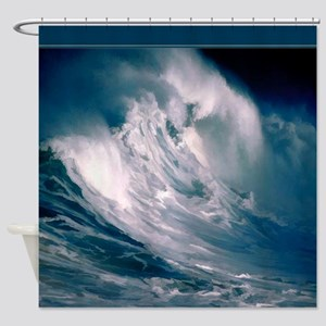 Huge Ocean Wave Painting Shower Curtain Shower Cur