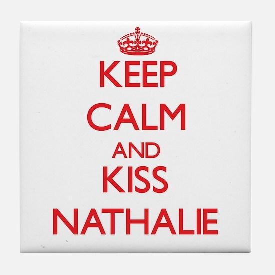 Keep Calm and Kiss Nathalie Tile Coaster