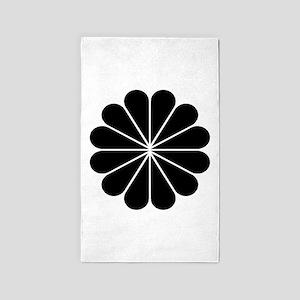 Big Black Digital Flower 3'x5' Area Rug
