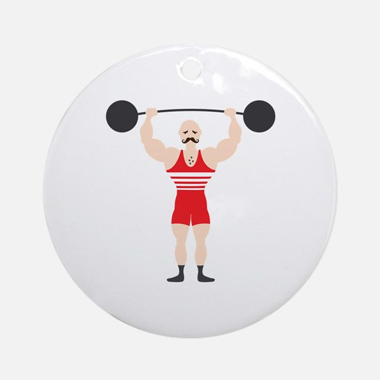 Circus Weightlifter Strong Man Ornament (Round)