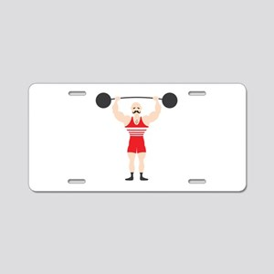 Circus Weightlifter Strong Man Aluminum License Pl