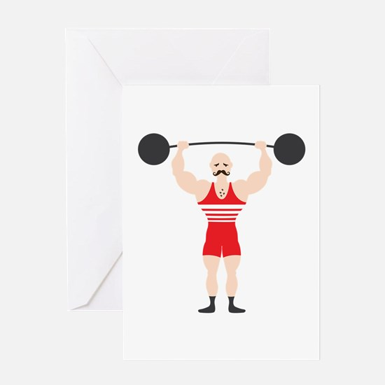 Circus Weightlifter Strong Man Greeting Cards