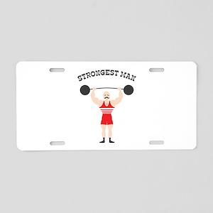 STRONGEST MAN Aluminum License Plate