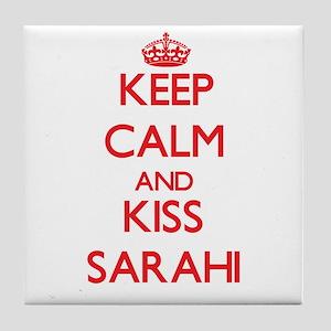 Keep Calm and Kiss Sarahi Tile Coaster