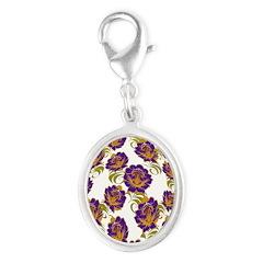 Flower Easter Egg 19B - Silver Oval Charm