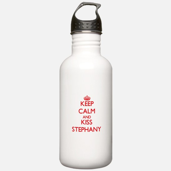 Keep Calm and Kiss Stephany Water Bottle