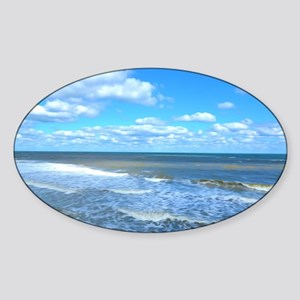 Seafoam waves Sticker (Oval)