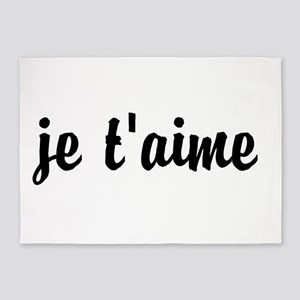je t'aime I LOVE YOU in French 5'x7'Area Rug
