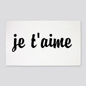je t'aime I LOVE YOU in French 3'x5' Area Rug