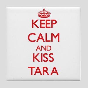 Keep Calm and Kiss Tara Tile Coaster
