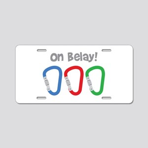 On Belay! Aluminum License Plate