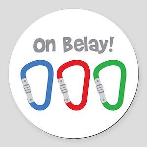On Belay! Round Car Magnet