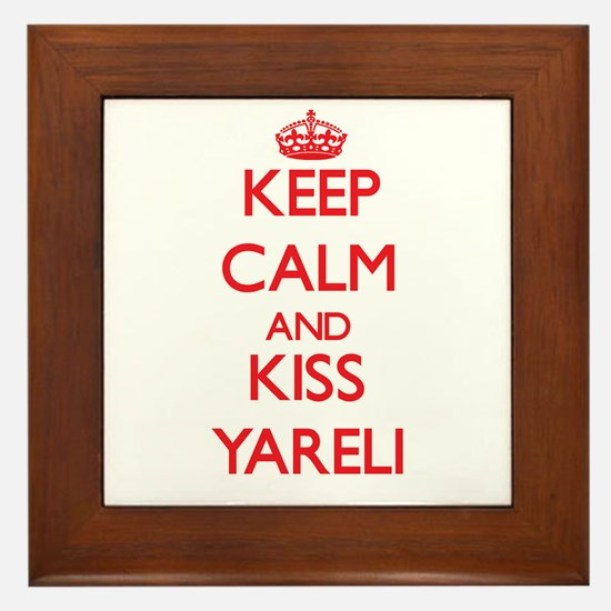 Keep Calm and Kiss Yareli Framed Tile