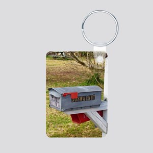 Rural mail boxes Aluminum Photo Keychain