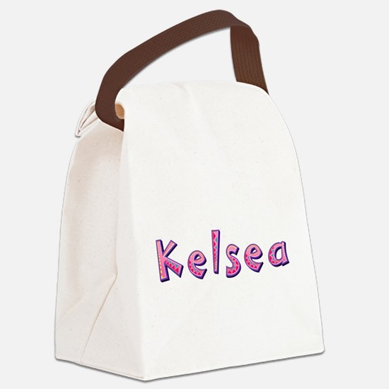 Kelsea Pink Giraffe Canvas Lunch Bag