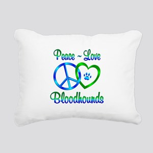 Peace Love Bloodhounds Rectangular Canvas Pillow