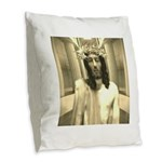 The Trial Of Jesus Burlap Throw Pillow