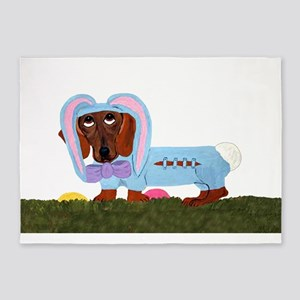 Dachshund In Blue Easter B... 5'x7'Area Rug