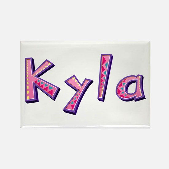 Kyla Pink Giraffe Rectangle Magnet