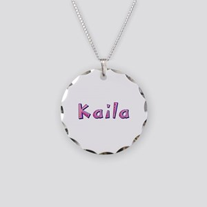 Kaila Pink Giraffe Necklace Circle Charm