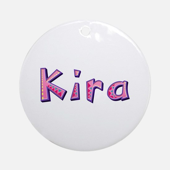 Kira Pink Giraffe Round Ornament