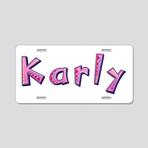Karly Pink Giraffe Aluminum License Plate