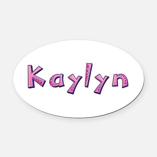 Kaylyn Pink Giraffe Oval Car Magnet