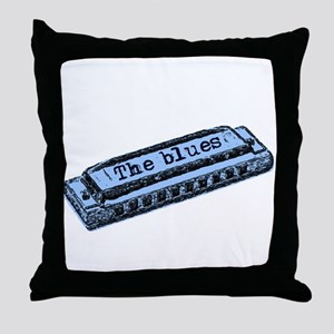 The Blues Harp Throw Pillow