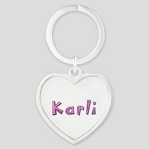 Karli Pink Giraffe Heart Keychain