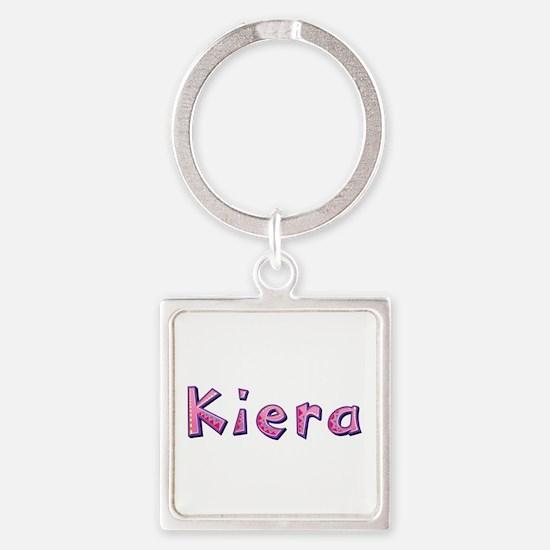 Kiera Pink Giraffe Square Keychain