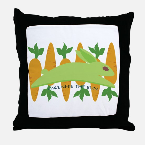Gwennie The Bun Carrots Throw Pillow