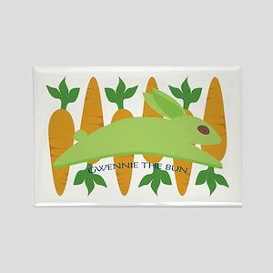 Gwennie The Bun Carrots Rectangle Magnet