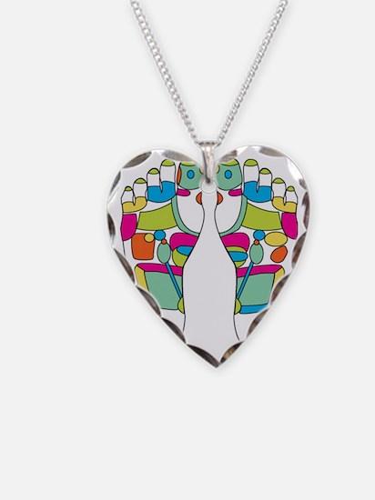 Feet Necklace Heart Charm