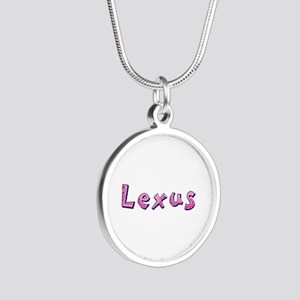 Lexus Pink Giraffe Silver Round Necklace