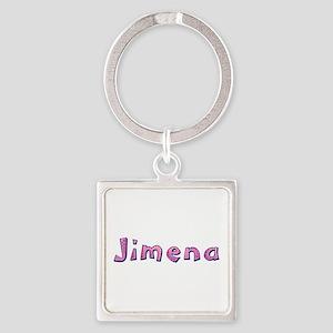 Jimena Pink Giraffe Square Keychain