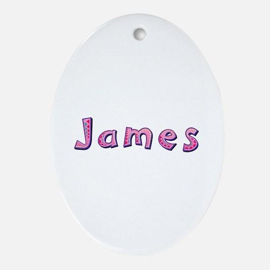 James Pink Giraffe Oval Ornament